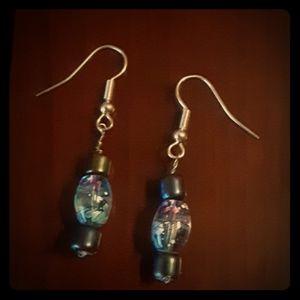 Navy Blue & Clear Speckled Beaded Dangle Earrings